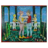 """KAFANOV, Vasily. Oil on Canvas. """"Pool Players"""""""